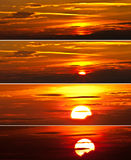 Sunrise. Collection of sunrise images in a collage Stock Photo