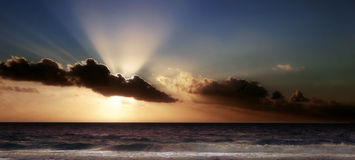 Sunrise. Image of a spectacular sunrise in Cancun. Panoramic Stock Photo
