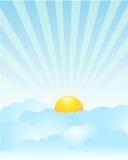 Sunrise. Illustration of sunrise through the clouds royalty free illustration