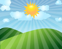 Sunrise. Landscape with clouds illustration vector illustration