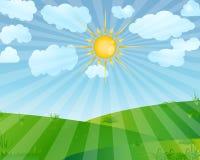 Sunrise. Landscape with clouds illustration royalty free illustration