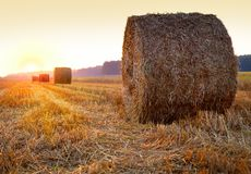 Sunrise. Over harvested field with hay bales Stock Images