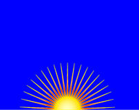 Sunrise. Stylized sunrise with a radiant gold and yellow half-sun against a deep blue background Stock Photo