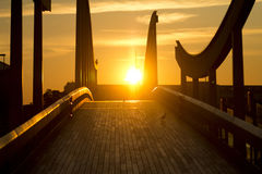 Sunrise. On the barcellona port Royalty Free Stock Images