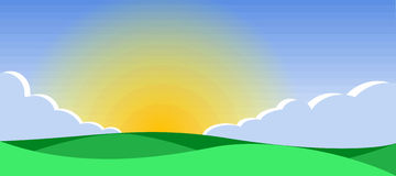 Sunrise. The sun rises on horizon, and there comes morning. A background vector illustration