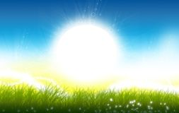 The Sunrise. Sunny Spring Meadow Illustration. Beautiful and Positive Nature Illustration Royalty Free Stock Photography