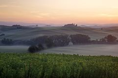 Sunrise. A nice view of tuscany landscape Royalty Free Stock Photo