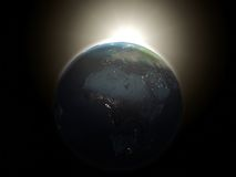 Sunrise. 3d rendered sunrise in the space Stock Photos
