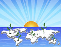 Sunrise. Illustration of sunrise over the revival of earth Royalty Free Stock Photos