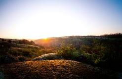 Sunrise. At Aktovsky canyon, Ukraine Stock Photos