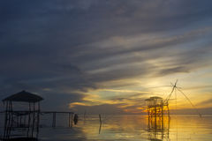 Sunrise. On lake in Thailand Royalty Free Stock Photography