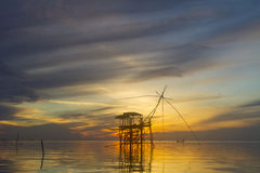Sunrise. On lake in Thailand royalty free stock photo