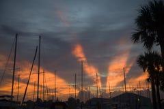 Sunrise. Over marina Stock Images