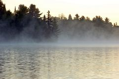 Sunrise. And mist in beautiful lake in Algonquin Park Royalty Free Stock Photos