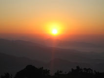Sunrise. On the Himalayas, Sarangkot, Pokhare, Nepal royalty free stock image
