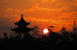 Sunrise. Early in the morning,the sunrises around the Zhongshan Mountain area in Nanjing---the old capital of China Stock Photo