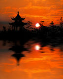 Sunrise. Inverted reflection in water of sunrise in Naning,one of the oldest captial of China Royalty Free Stock Images