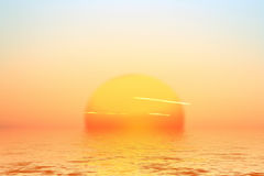 Sunrise. This image shows a sunrise over the ocean vector illustration