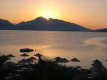 Sunrise. In Marmaris, Turkish resort, with mountains Stock Photos