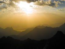 Sunrise. Beautiful sunrise in mountains. Caucasus. Kabardino-Balkariya. Bezengi Stock Photo