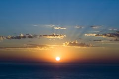 Sunrise. Beautiful Sunrise over the Blue ocean stock image