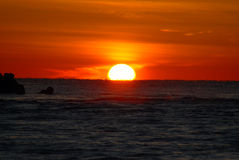Sunrise. Atlantic ocean at sunrise with orange sky stock photography
