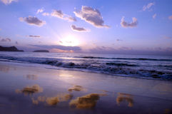 Sunrise. In the beach royalty free stock images