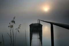 Sunrise. At the lake with water-gate Stock Photography