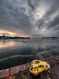 Sunrise. Cold morning and sunrise in harbour Royalty Free Stock Images