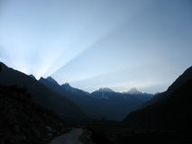 Sunrise. In Himalayas. Early morning shot Royalty Free Stock Photography
