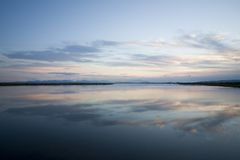 Sunrise. Early morning at the lagoon of Lefkada in Greece Stock Photography