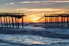 Sunrise Abandoned Fishing Pier Stock Photos