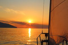 Sunrise aboard a sailing yacht Royalty Free Stock Photo
