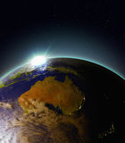 Sunrise above Australia from space Royalty Free Stock Photography