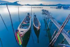 Sunrise above Bansamchong fishing village in Phang Nga province. Stock Photo