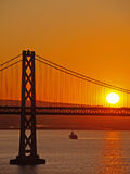 Sunrise above Bay Bridge Stock Images