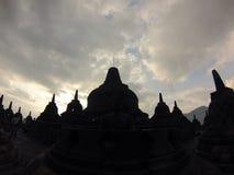Sunrise above Borubadur temple Royalty Free Stock Images