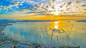 Sunrise above Chalong pier Stock Photo