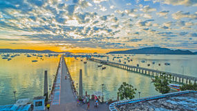 Sunrise above Chalong pier Royalty Free Stock Photography