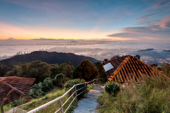Sunrise above the cloud view of George Town City from Penang Hill. Beautiful landscape series of sunrise and sunset collection from George Town, Penang, Malaysia Royalty Free Stock Photography