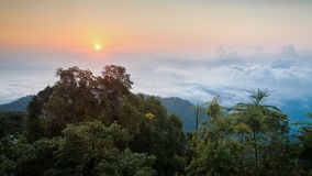 Sunrise above the cloud view of George Town City from Penang Hill. Beautiful landscape series of sunrise and sunset collection from George Town, Penang, Malaysia Stock Photos