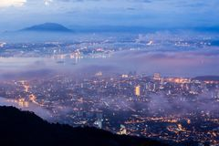 Sunrise above the cloud view of George Town City from Penang Hill. Beautiful landscape series of sunrise and sunset collection from George Town, Penang, Malaysia Royalty Free Stock Photo