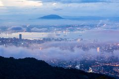 Sunrise above the cloud view of George Town City from Penang Hill. Beautiful landscape series of sunrise and sunset collection from George Town, Penang, Malaysia Stock Photo