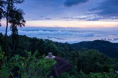 Sunrise above the cloud view of George Town City from Penang Hill. Beautiful landscape series of sunrise and sunset collection from George Town, Penang, Malaysia Stock Photography
