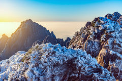 Sunrise above colorful peaks of Huangshan National park. Royalty Free Stock Photography