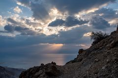 Sunrise above Dead sea stock photography