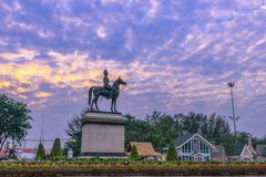 Sunrise above The Equestrian State of King Chulalongkorn Rama v. The equestrian statue of king rama v in Bangkok royalty free stock photo