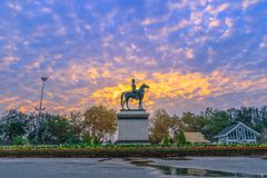 Sunrise above The Equestrian State of King Chulalongkorn Rama v. The equestrian statue of king rama v in Bangkok royalty free stock photos