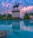 Sunrise above The Equestrian State of King Chulalongkorn Rama v. The equestrian statue of king rama v in Bangkok stock photos