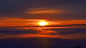 Sunrise Above the fog Stock Photos